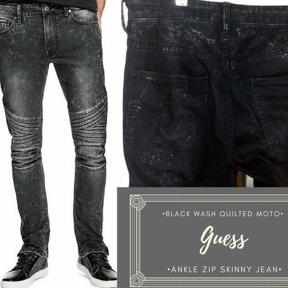 MENS GUESS SKINNY BLACK JEANS